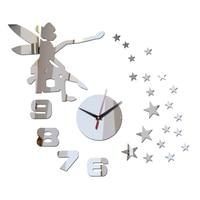 2017 Quartz Horloge New Réel Grand Diamant Miroir Horloge Murale Montre Safe Conception Autocollants Diy De Luxe Horloges Accueil