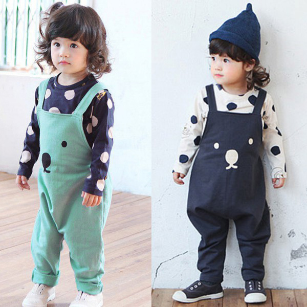 New fashion Baby Boy Girls Bib Pants Overalls Bear Print Harem Pants Long Trousers 0-3Y