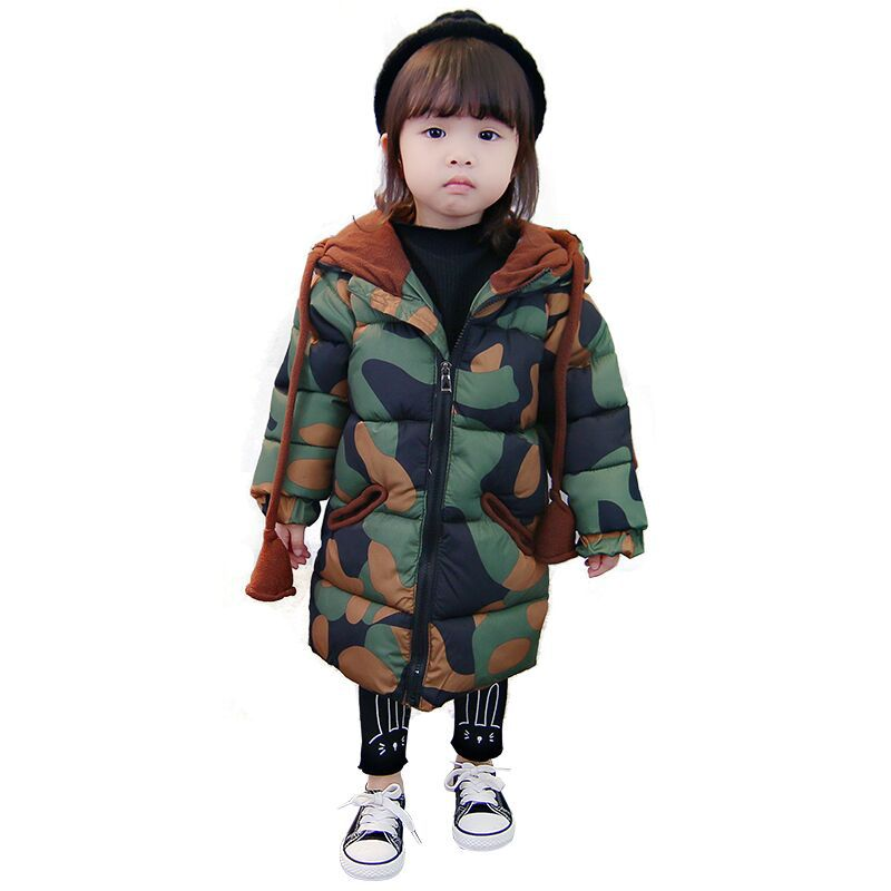 New Camouflage Long Girl Clothes Camouflage Pattern Girl Coat Kids Jacket Kids Winter Coat Warm Girl Jacket For Children Coat боди и песочники апрель боди короткий рукав божья коровка