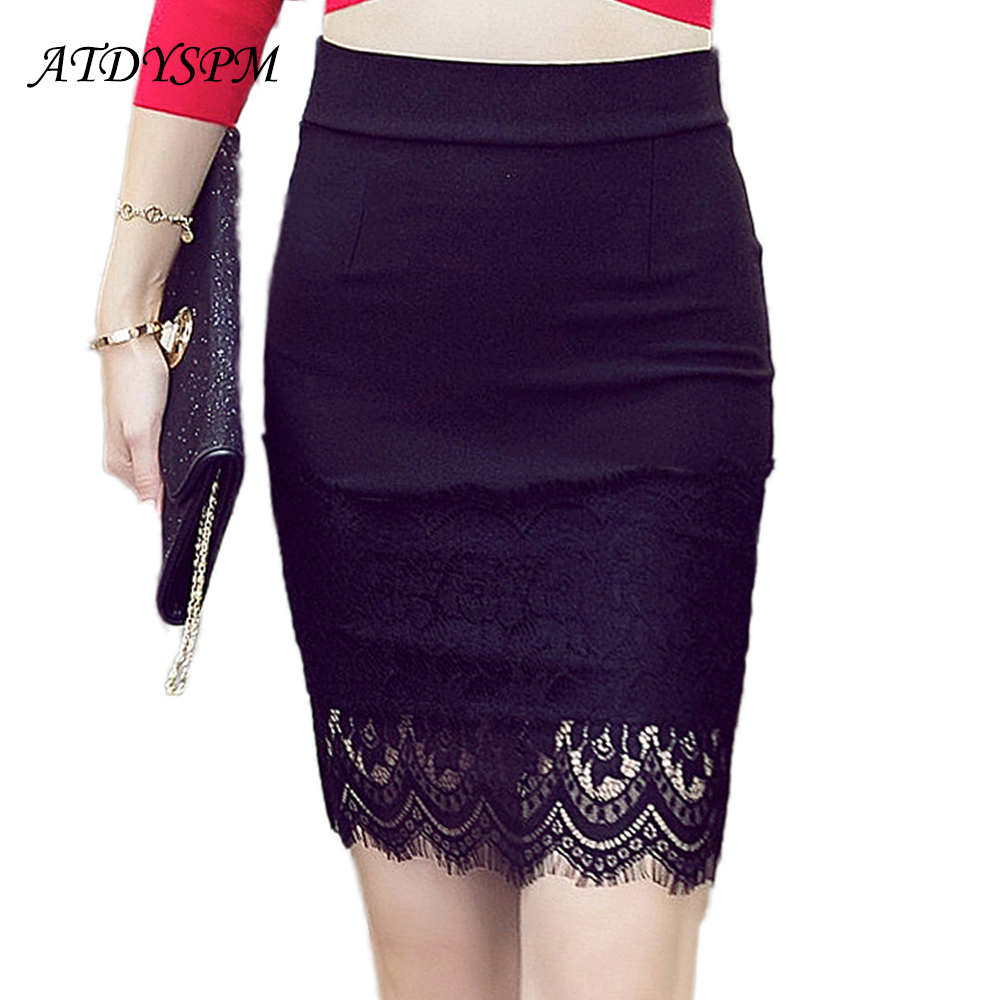 2020 New Stretch Pencil Skirts For Women Elegant Hollow Out Lace Midi Skirt Slim Female Office OL Bodycon Plus Size Skirts