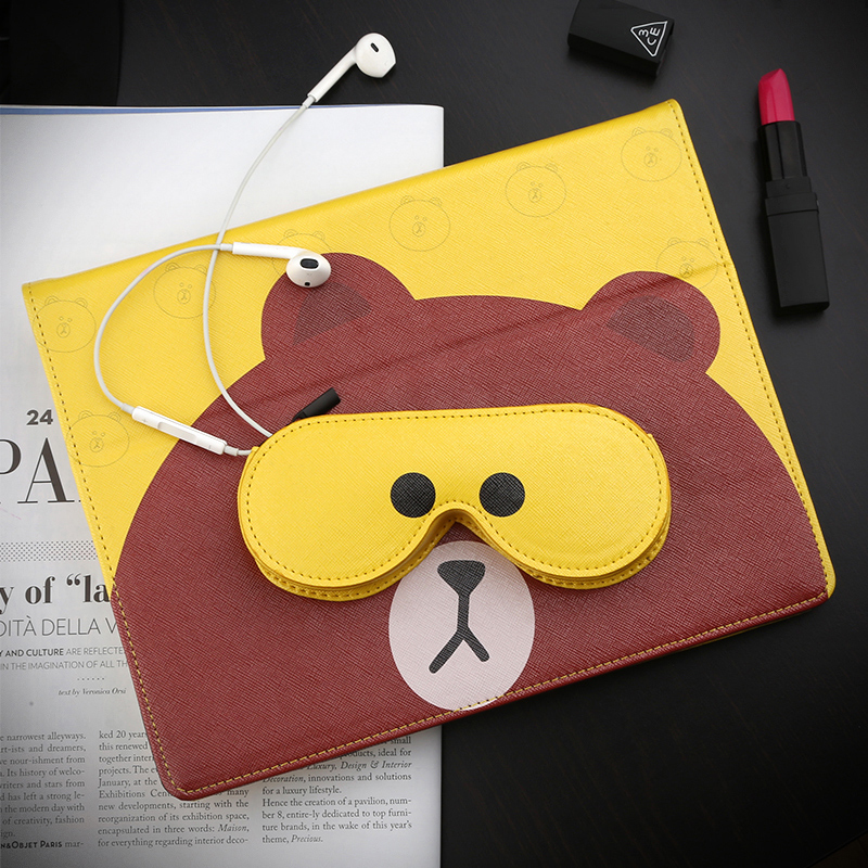 все цены на  Cute Bear Smart PU Leather Case Flip Cover For Apple iPad Air Air2 Mini 1 2 3 4 Tablet Case Protective Bag Skin+storage bag GD  онлайн