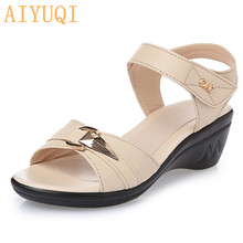 Summer mother genuine leather female sandals 2017 new middle-aged slope with fish mouth casual plus size 35-43 # shoes female цены онлайн