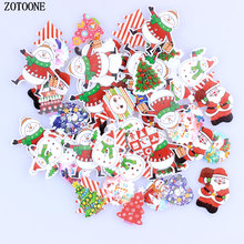 ZOTOONE 50Pcs Random Mixed 2 Holes Christmas Decorative Santa Claus Snowman Tree Buttons Wood Sewing Scrapbooking E