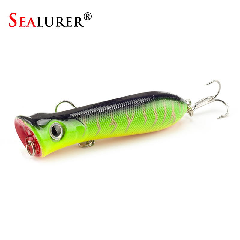 SEALURER Brand Popper Wobbler Fishing lure With 6# hooks  floating crankbait artificial bait  poper  pesca carp pike sealurer brand big wobbler fishing lures sea trolling minnow artificial bait carp peche crankbait pesca jerkbait
