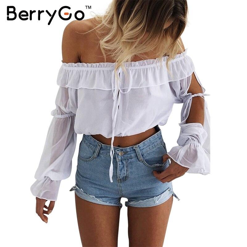 BerryGo Short volantes blusa de la gasa camisa de Las Mujeres blusas de verano o