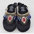 2017 Plus Size 35-41 Sandálias Gladiador Romano flip flops Mulher Pompom Étnica Boêmio Verão Bordado Borla Sapatos z492