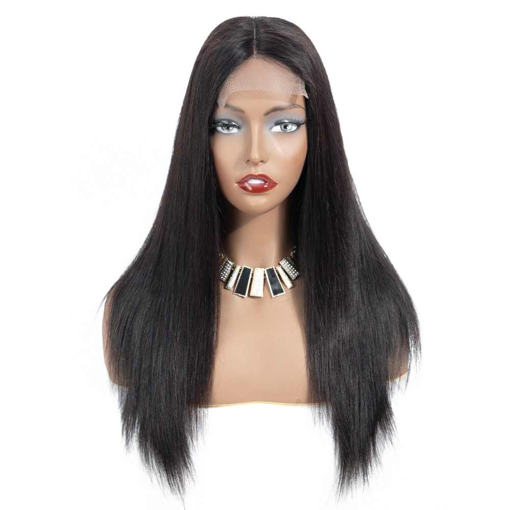 4*4 Lace Front Closure Human Hair Wigs For Black Woman Middle Part 130% Density Lace Frontal Wigs Brazilian Straight Remy Hair