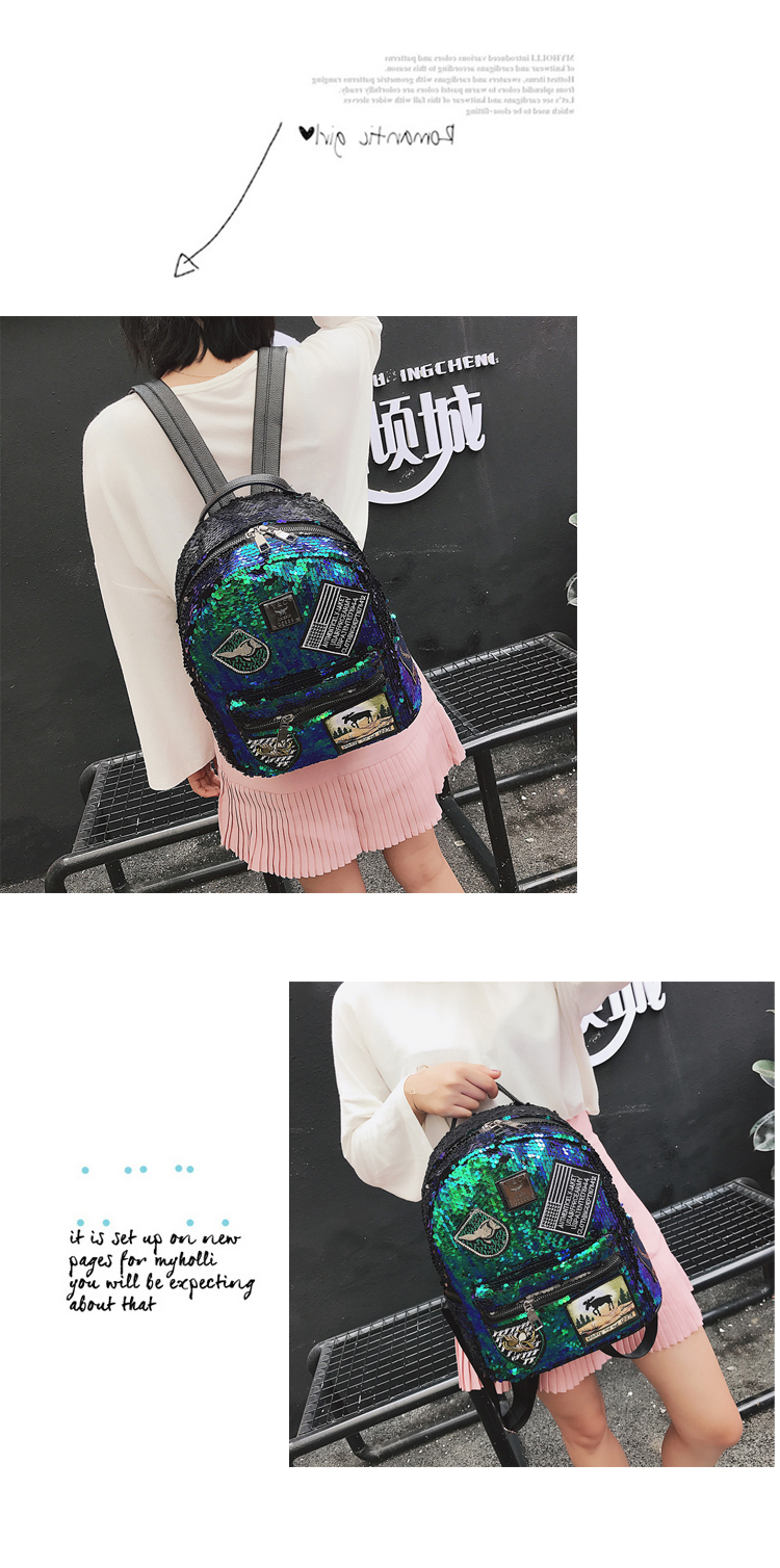Sequin Backpack Korean version 2018 New Personality Badge Fashion Backpack Wild Casual 13