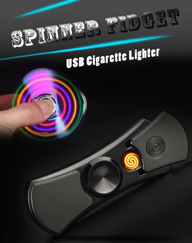 Fid Spinner Cigarette Lighter LED Flash Light USB Charging Hand