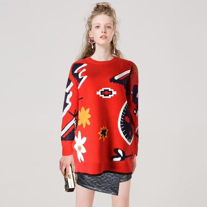Manches Motif Lâche Mode Longues Urumbassa Tops Rouge D'hiver Tricot Géométrie Femmes Chandails Pulls Épaissir À Pgwfz