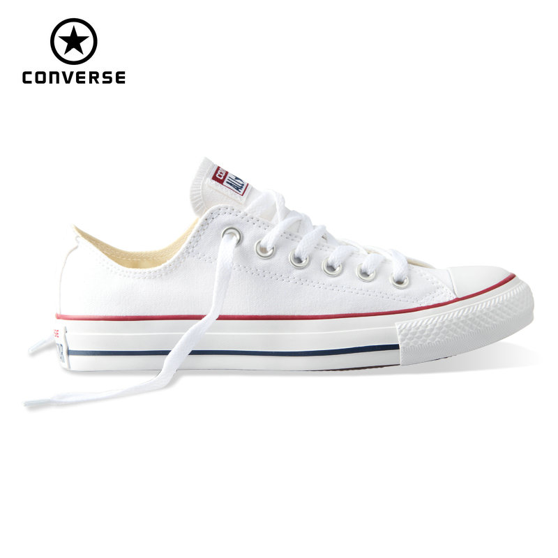 Original New Converse All Star Canvas Shoes Men S Sneakers Low Classic Skateboarding Shoes White Color