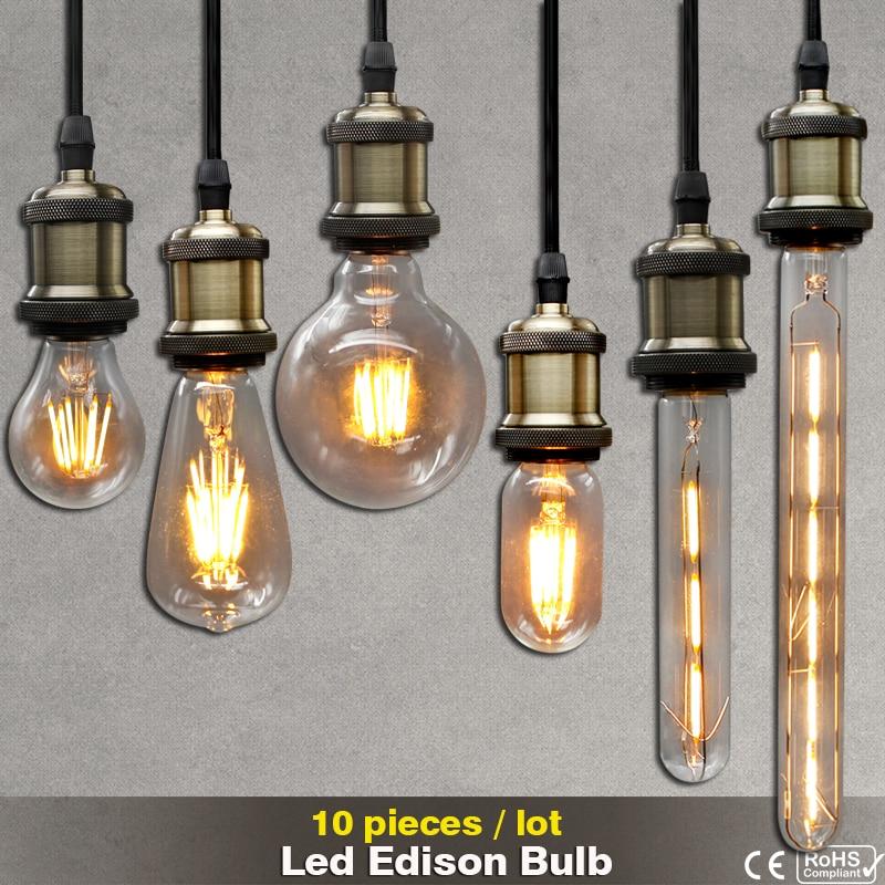 Edison Bulbs 4 Tier Led Vintage Light Bulb: 10pcs 220V Vintage LED Filament Edison Bulb E27 E14