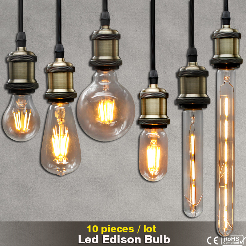 10pcs 220V Vintage LED Filament Edison Bulb E27 E14 decorative light bulb retro lamp Glass Bulb Candle Lights Energy Saving Lamp