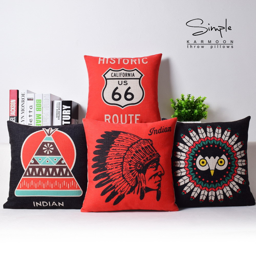 Aliexpress Com Buy Indian Totem Cushion Covers Pillowcase Tribal Chief Printed Cafe Sofa Home Decor Throw Pillowcase American Style Cushions Covers From