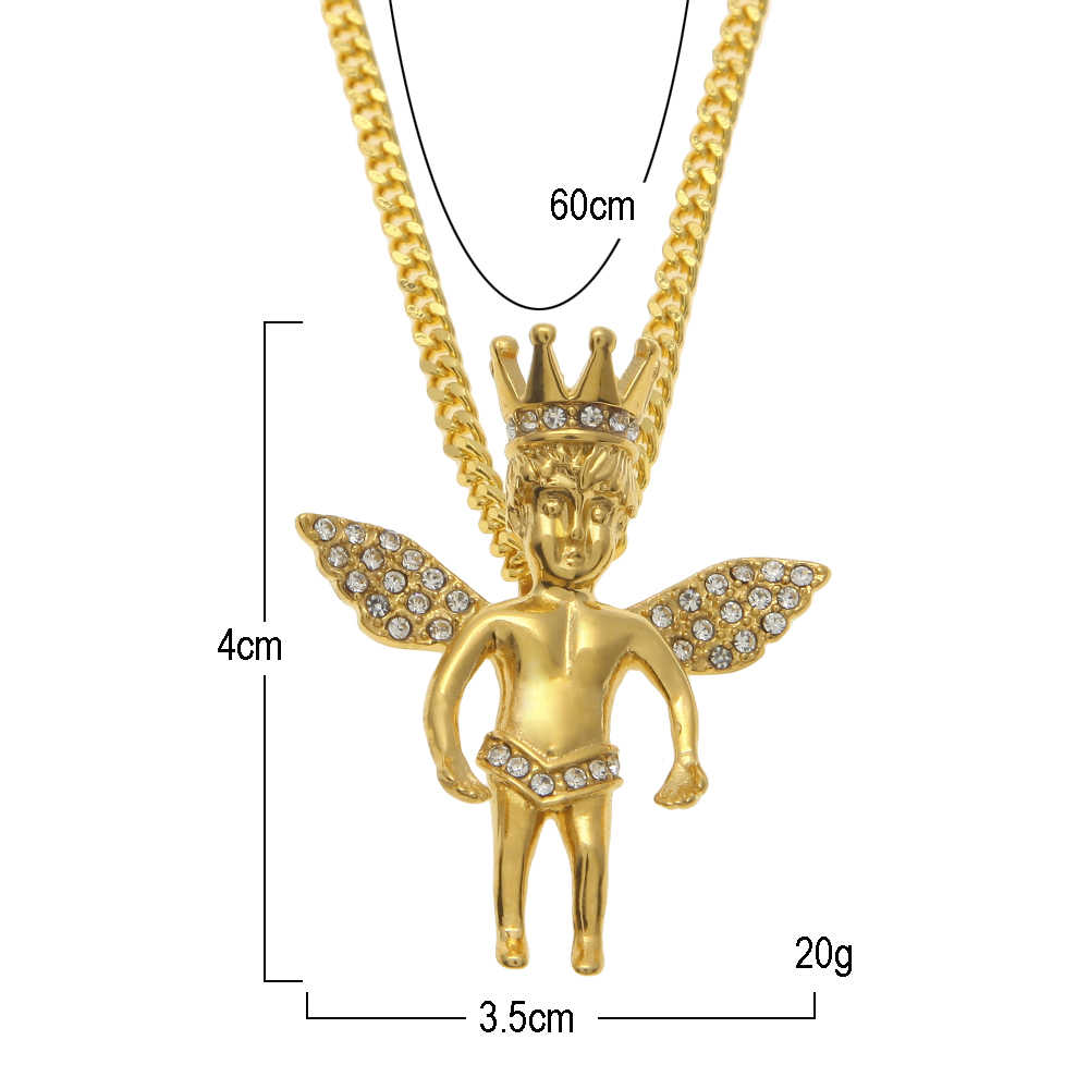Uwin Stainless Steel Gold Color 9 Styles Angel Pendant Hip hop Women Men Necklace High Quality Jewelry Wholesale Dropshipping