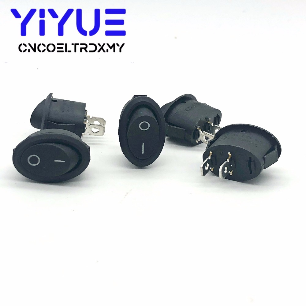 5Pcs Rocker Switch Ellipse Black KCD1 2Pin two position Seesaw Power switch  6A250VAC 10A125VAC toggle switch (4)