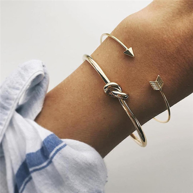 2PCS/SET Vintage Cuff <font><b>Bracelet</b></font> Bangles for Women Brief Gold Color <font><b>Open</b></font> Arrow Knotted Charms <font><b>Bracelet</b></font> Jewelry valentines Gift image