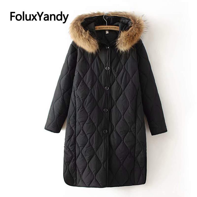 4 Colors Women Winter   Parka   Coat Casual Faux Fur Collar Hooded Loose Plus Size   Parkas   Warm Thick Outerwear KKFY2946