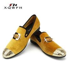 купить Men Gold Velvet Loafers Men Smoking Slipper Party and Wedding Dress Shoes Fashion Comfortable Breathable Men's Casual Shoes по цене 2493.22 рублей