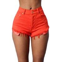 2017 New Summer Women Candy Color Denim Shorts High Waist Cotton Short Pants Feminino Sexy