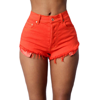 2017 New Summer Women Candy Color Denim Shorts High Waist Cotton Short Pants Feminino Sexy
