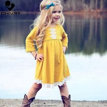 Chivry Autumn 2019 Girls Long Sleeve O-neck Lace Hem Patchwork Dress Kids Baby Little Girls Cotton Casual Dresses Vestidos цены онлайн