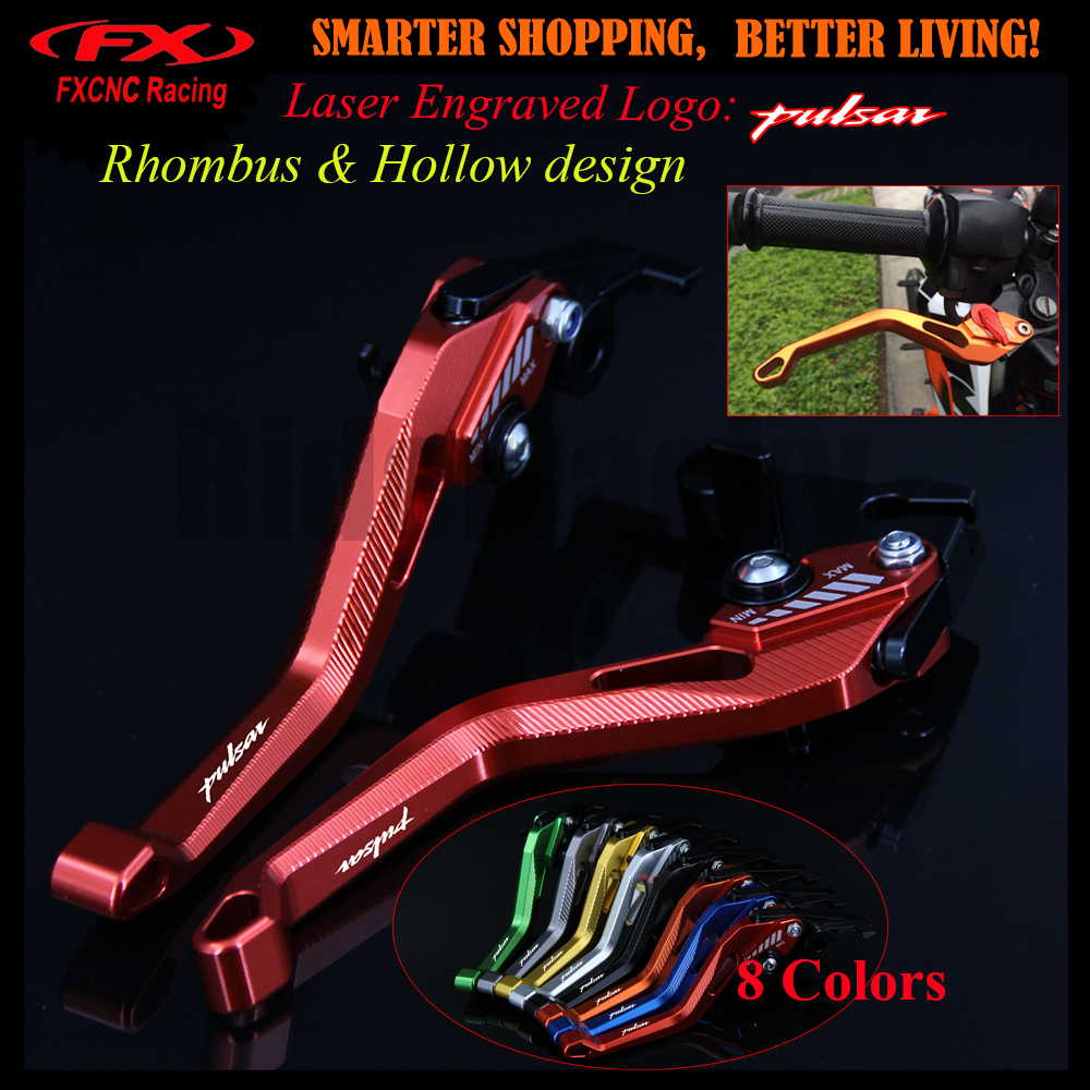 8 Color 3D Rhombus Hollow Design patent For Bajaj Pulsar 200 NS 200NS All years CNC Red Motorcycle Brake Clutch Levers With Logo for bajaj pulsar 200 ns as rs 200ns 200rs 200as titanium balance shock front fork brace motorcycle accessories cnc aluminum