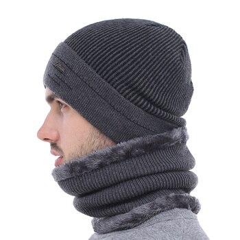 AETRUE Skullies Beanies Men Scarf Knitted Hat Cap Male Plus Gorras Bonnet Warm Wool Thick Winter Hats For Men Women Beanie Hat