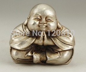 Chinese Antique Collectibles OLD WHITE COPPER HANDWORK CARVING MONK BUDDHA STATUE