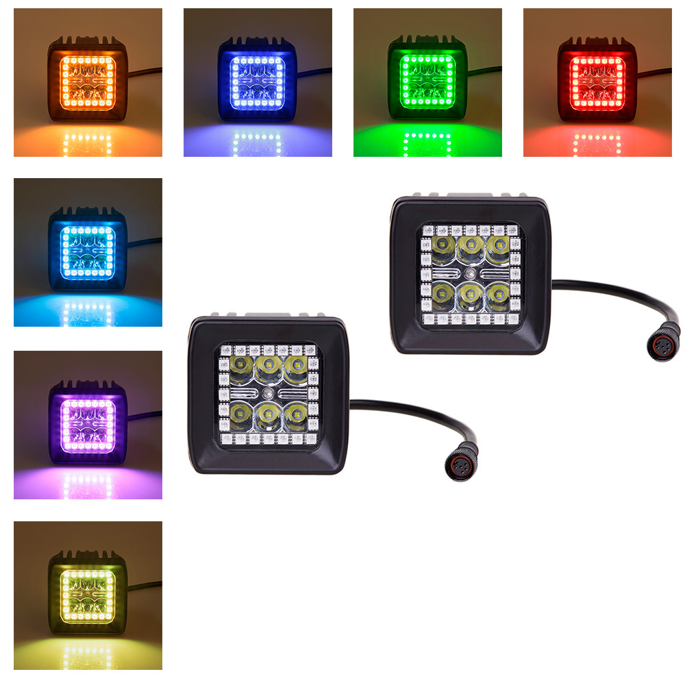 ФОТО 18W 3Inch LED Work Light with RGB Halo for Indicators Motorcycle Driving Offroad Boat Car Tractor Truck 4x4 SUV 12v 24v Pack 2