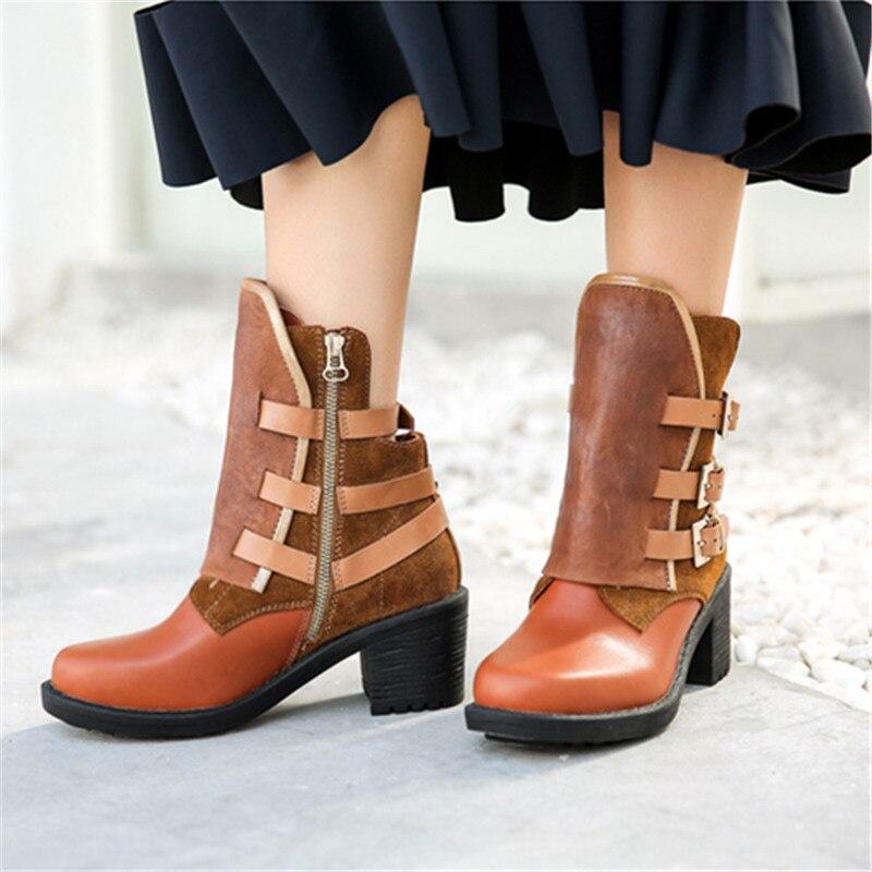 Mabaiwan Moda Fibbia Delle Donne di Spessore Tacco Alto Stivali Alla Caviglia Autunno Inverno Zip Marrone Genuino Scarpe di Cuoio della Donna Pompe Stivaletti - 6