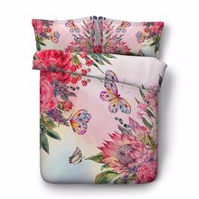 500TC flower bedroom decor bed cover chinese 3D butterfly conforter sets egyptian cotton bedding queen size adult home textile(China)