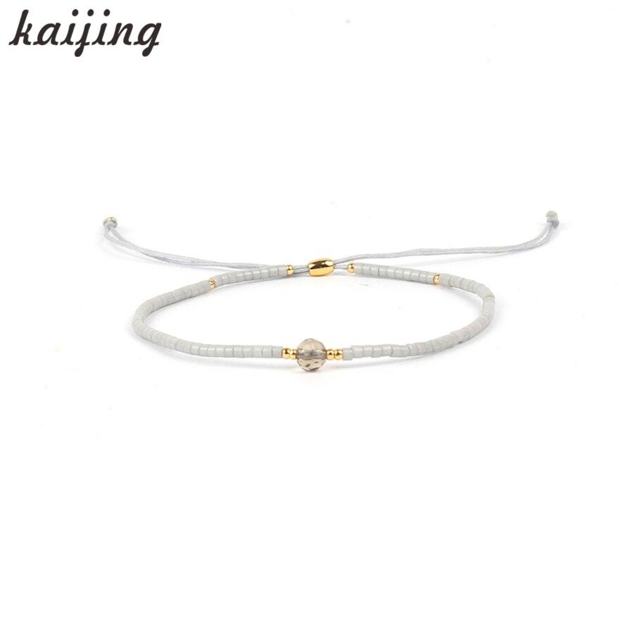 KaIJING 2017 Popular Crystal Seedbeads Stone Silk Rope Adjustable Handcrafed Charm Bracelet Femme Bijoux Customized Wholesale