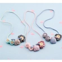 Korea Handmade Cute Lace Flower Fabric Cartoon Dog Button Children Necklace For Girls Kids Apparel Accessories-HZPRCGNL034F
