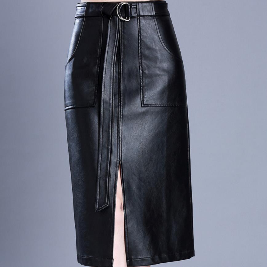Women Pu Leather Skirt  Plus Size 5xl Autumn Casual Office Work Split High Waist Long Skirt