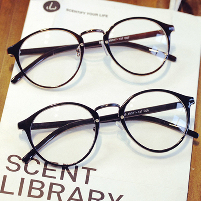 Gafas de lectura femeninas transparentes de la vendimia marco de anteojos redondos hombres gafas informáticas hombres gafas de grau femininos