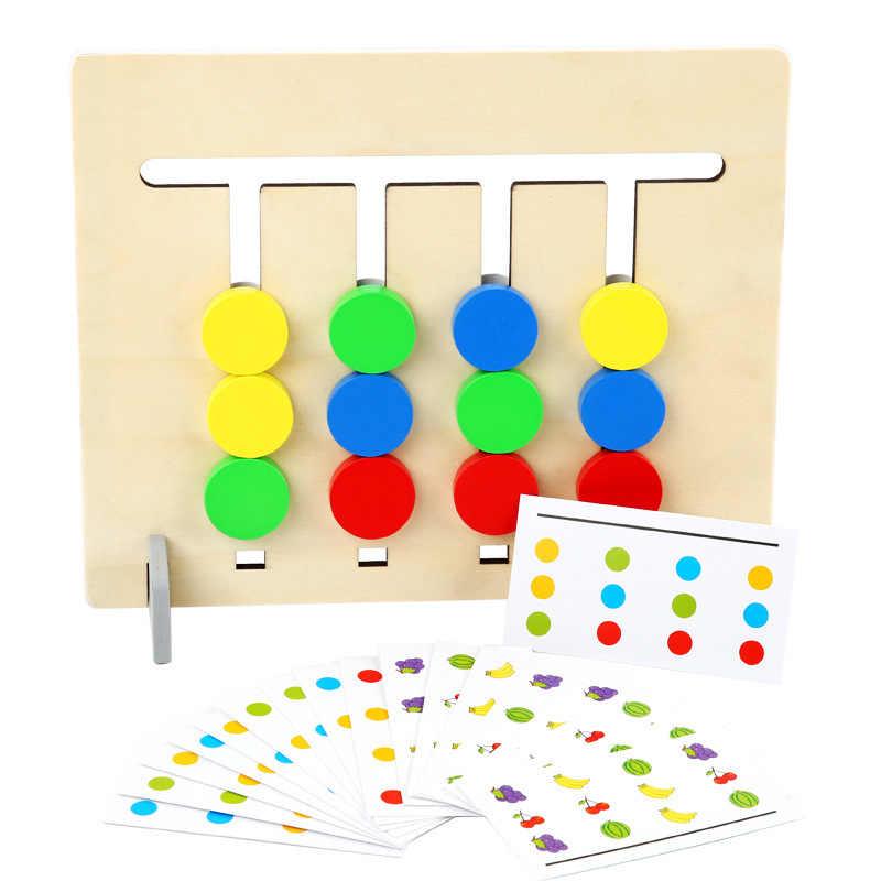 Juguete de Montessori colores y frutas de doble cara de juego de razonamiento lógico formación juguetes educativos para niños de los niños de juguete de madera
