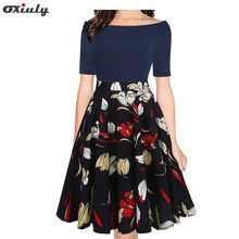Фотография Oxiuly Sexy Off Shoulder Slash Neck Office Dress Summer Floral Print Beach Dress Casual Patchwork A-line Women Dress Vestidos