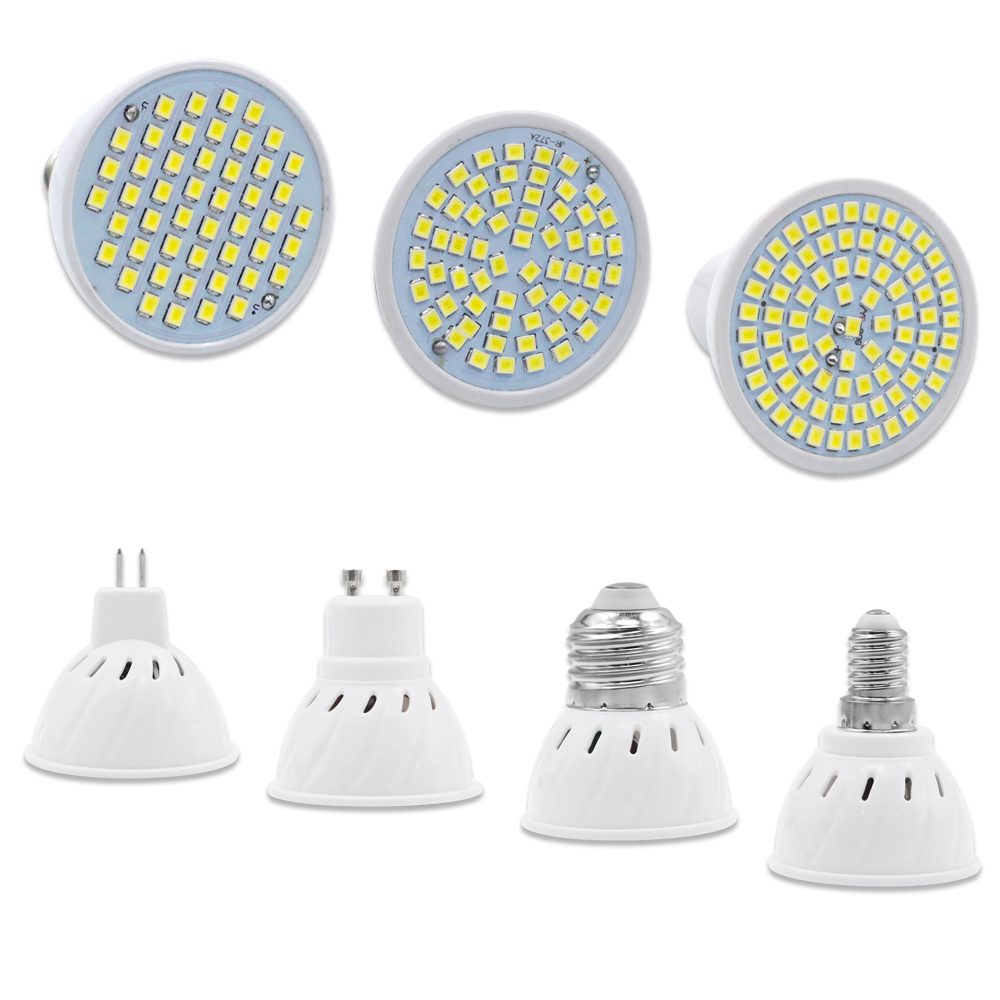 Lampada Led Lamp 48leds 60leds 80leds AC 220V SMD 2835 LED Spotlight Bulb GU10 MR16 E27 E14 For Home Energy Saving Bombillas