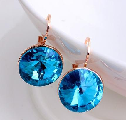 Blue Earing Genuine Austrian Crystal Stud Earrings For Women Wedding Gold Earings Fashion Jewelry 2017 Dropshipping Jewellery