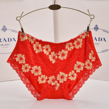 QA1026 Hot selling sexy lace breathable mid waist women panties bamboo fiber healthy female lingerie