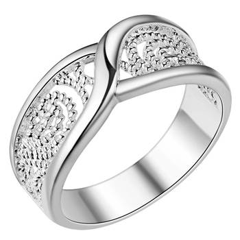 Gorgeous Rounded Hollow Shiny 925 Fashion Silver Plated Ring Engagemetn/Wedding Party Jewelry 1
