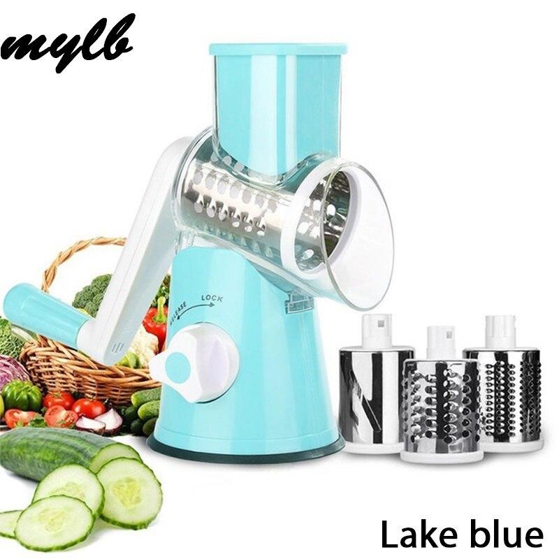 Mylb Gemüse Cutter Runde Mandoline Slicer Kartoffel Karotte Reibe Slicer mit 3 Edelstahl Chopper Klingen Küche Werkzeug