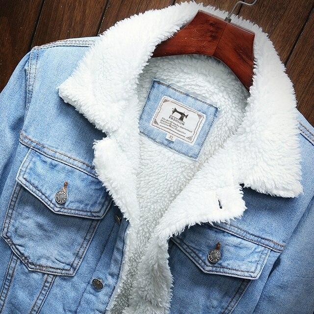 Men Light Blue Winter Jean Jackets Outerwear Warm Denim Coats New Men Large Size Wool Liner Thicker Winter Denim Jackets Size6XL 5