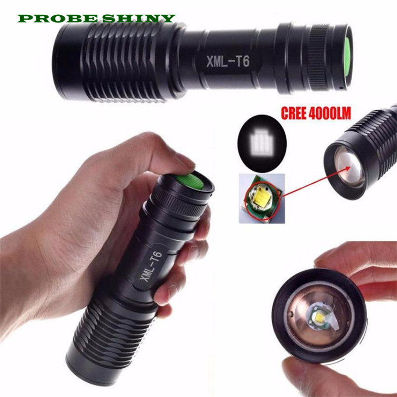 HOT!!! 4000LM Zoomable XML T6 LED 5 Modes Police Flashlight Lamp Torch Free Shipping #NN03