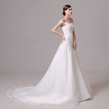 Sleeveless Boat Neck Small Tailing A-line Wedding Dresses