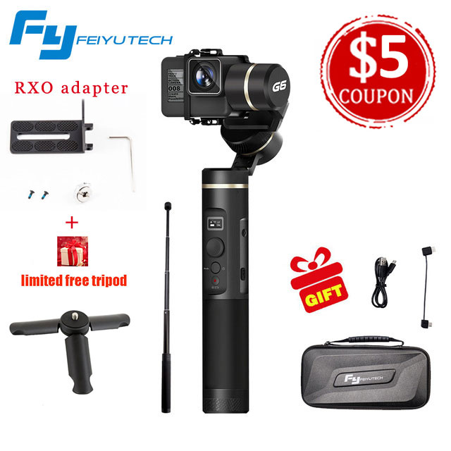 FeiyuTech Feiyu G6 3 Axis Handheld <font><b>Gimbal</b></font> Stabilizer for action <font><b>camera</b></font> Gopro 6 5 4 RX0 <font><b>xiaomi</b></font> yi <font><b>4k</b></font> Wifi Blue Tooth OLED Screen image