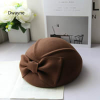 England Ladies Big Bow Beret Cap Fashion Pure Australian Wool Felt Fedora Hat Elegant Female Winter