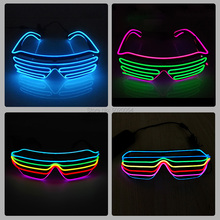 Hot Selling Glowing Light Up Shutter Glasses Wedding Party Colorful Neon EL Wire Sun Glasses Eyewear Men Women