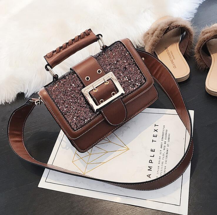 2018 Bling Sequined Handbag Wide Strap Lady Flap Women Shoulder Bag #2116 Fashion Woman Crossbody Bag Christmas Gift